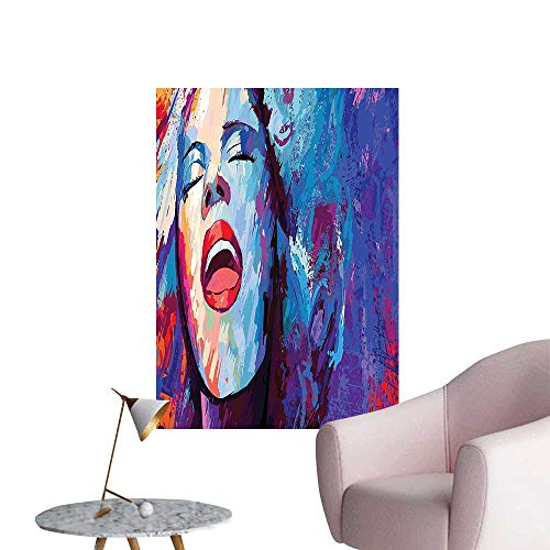 Wall Painting Illustration of Singer on Background Performing Singing Woman Image Blue Purp High-Definition Design,28