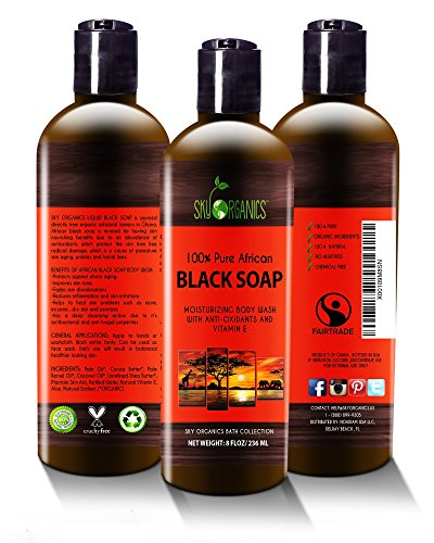 Organic African Black Soap - Raw Organic Soap Ideal for Acne, Eczema, Dry Skin, Psoriasis, Scar Removal, Face & Body Wash, Authentic Liquid Black Soap From Ghana (8oz) with Cocoa, Shea Butter & Aloe
