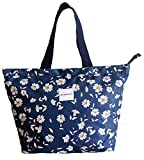 Tote Shopping Bag For Women,Coin Purse MakeUp Bag,School Backpack For Litter Girls Student (3-Tote Bag- Floral-floral-navy blue)