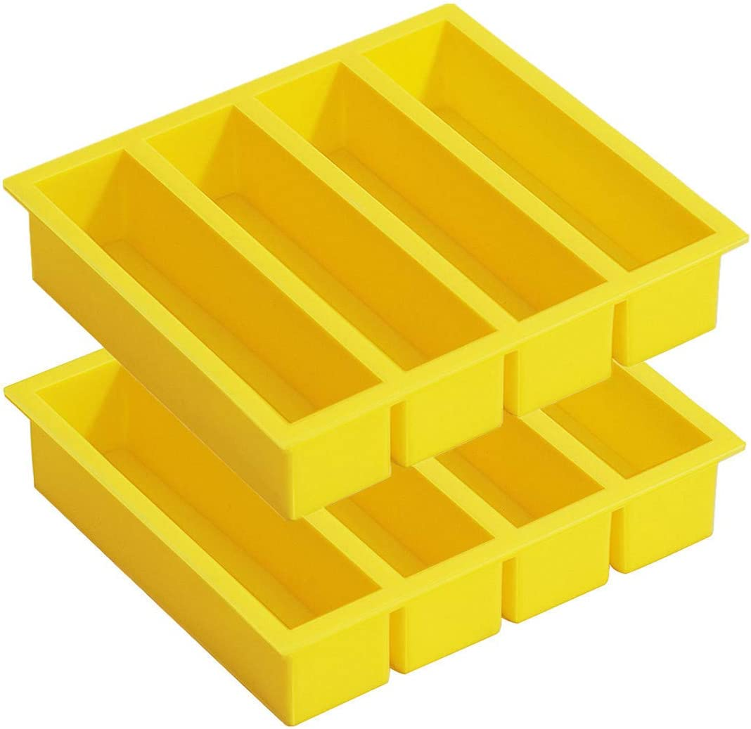Silicone Butter Mold 4 Cavities Rectangle, Large Collins Ice Cube Trays for Cocktail, Bottled Beverage, Cake and Soap Bar - Flexible and BPA Free, 2 Trays Yellow