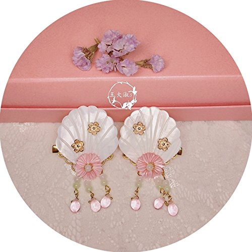 - (Yan hairpin) (wheat drops) Chinese clothing hair accessories for shells or flower pink short paragraph tassel earrings alloy flower patch for women girl lady