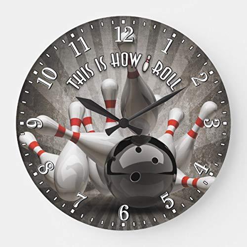 PotteLove Bowling Ball Pins Man Cave Wall Wooden Decorative Round Wall Clock