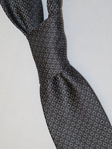 Salvatore Ferragamo Charcoal Gray and Silver Gancini Silk Neck Tie