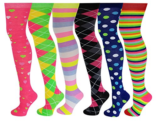 6 Pairs Pack Women Multi Neon Color Fancy Design Thigh High Over the Knee Socks Stockings (6 Pairs -