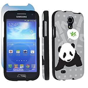 Samsung Galaxy S4 Mini SCH-I435 Verizon Desginer Black Hard Case + Screen Protector By SkinGuardz - Black Panda Bamboo