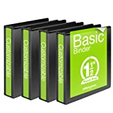 Wilson Jones 1-1/2 Inch 3 Ring Binder, Basic Round Ring View Binder, Black, 4 Pack (W70362-34BPP)