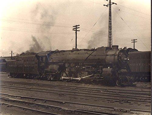 Norfolk & Western RR 4-8-2 steam locomotive #114 at Roanoke VA 1950s