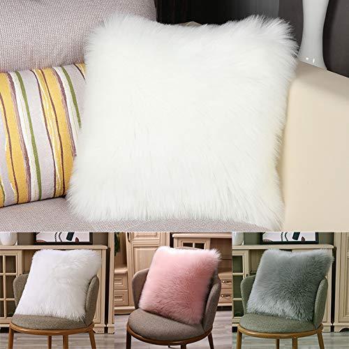 50x50CM//20x20 inch White Pillow Cover- Fluffy Morbido Piazza Cuscino Decorativo per Salotto Camera da Letto Divano Auto New Luxury in Finta Pelliccia