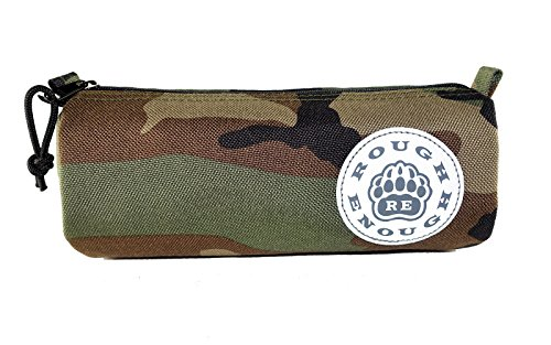 Logo Zipper - Rough Enough CORDURA Simple Military Army Small Portable Round Long Pencil Case Bag Stationary Pen Tool Pouch Holder Organizer with Zipper Reflective Logo for Kids Boys Students at School Outdoor Camo