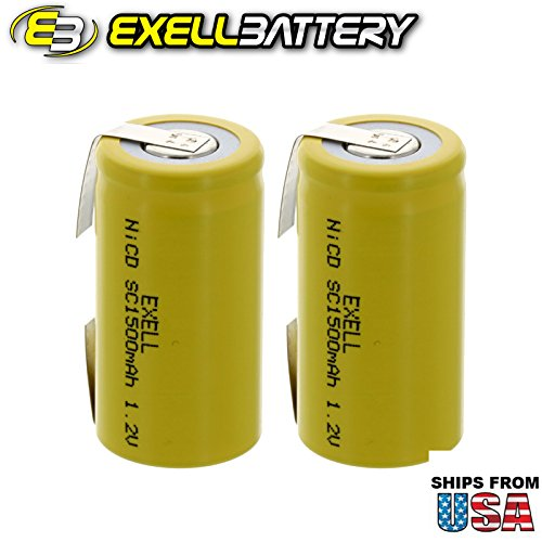 2x Exell SubC 1.2V 1500mAh NiCD Rechargeable Batteries with Tabs for medical instruments/equipment, electric razors, toothbrushes, radio controlled devices, electric tools