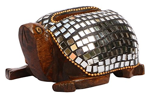 - SouvNear Handmade Tortoise Business Card Holder - Hand-Carved Eucalyptus Wood Holder with Mirror Mosaic Art - Figurines / Sculptures / Statues - Desk Accessories