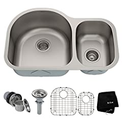 Kraus undermount stainless steel sinks are designed with your kitchen in mind. Constructed from premium 16 or 18 gauge T-304 stainless steel for maximum durability, the extra-deep basins accommodate large dishes with ease. All Kraus kitchen s...