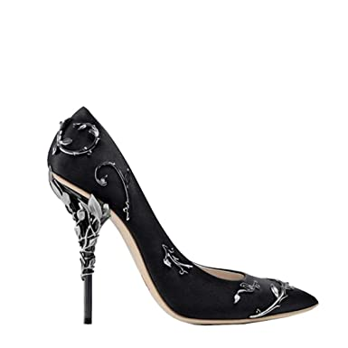 da2f2fdbf9f Amazon.com  Women Pumps Pointed Toe Flower Wedding Shoes Elegant Silk Brand  Design High Heels  Clothing