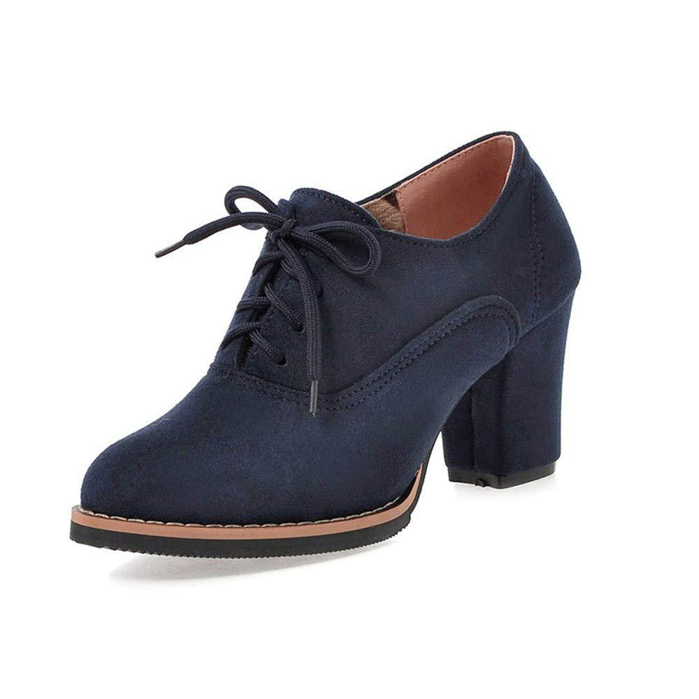 ❤ Botas Cortas de tacón Alto para Mujeres, Botines con Flecos Cuadrados Gruesos con Cordones sólidos y Altos Zapatos de Punta Redonda Absolute: ...