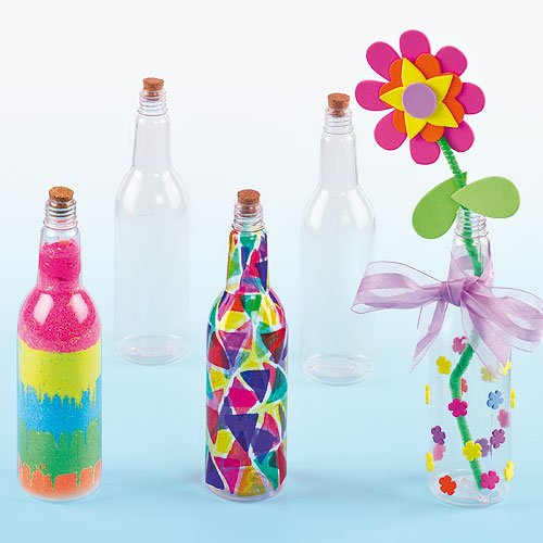 Amazon.com: Baker Ross Plastic Art Bottles with Cork for Children to Paint & Decorate, and use for Craft Projects (Pack of 4): Toys & Games