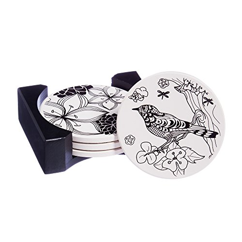 Cypress Home Botanical Coloring Book Inspired Ceramic Coaster Set with Caddy