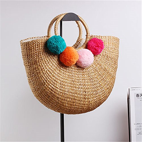 Manualbages Pon Straw Women Tote Bags Big Tassel Handmade Basket Handbags Summer Holidays Moon Shaped Rattan Beach Bags with 3 Tassels With Hairball