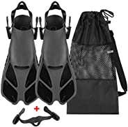 Oumers Snorkel Fins, Travel Size Adjustable Strap Diving Flippers with Mesh Bag and Extra Buckle Connector for
