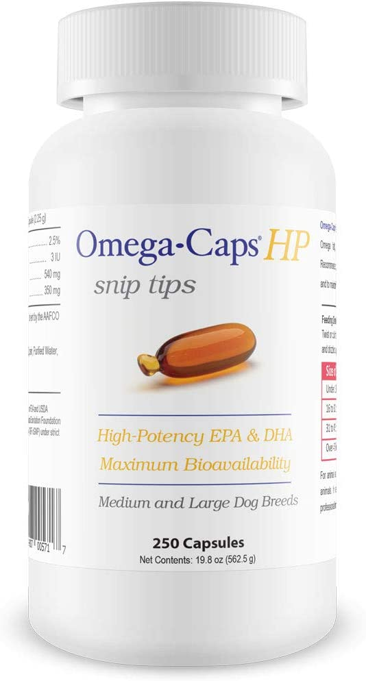 Omega-Caps HP Snip Tips for Cats & Smaller Dogs - Omega 3, EPA, DHA, Vitamins, Minerals, Antioxidants - Support Immune System, Joints, Heart, and Brain - 250 Capsules