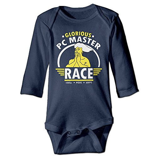 Price comparison product image PC Master Race Glorious PC Gaming Unisex For Climbing Clothes Infant Rompers Navy