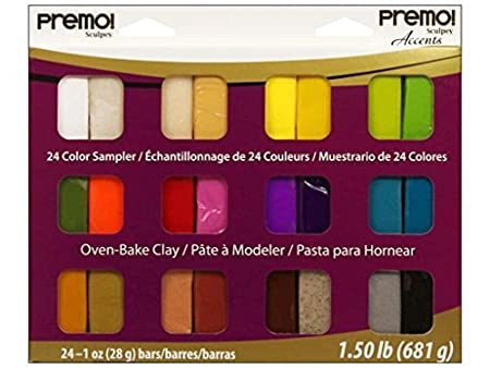 24-Pack Assorted Colors Polyform Premo Clay Sampler Pack