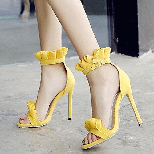 mujer Negro Rosa Talla de mujer Large Naranja 40 Zapatos Amarillo 52 GAOLIXIA Tacones de Summer Yellow New Lace Sandals aqxPPEwZB4