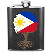 Portable 304 Stainless Steel Hip Flask, Tree Of Life With Philippines Flag 7 Oz Pocket Flagon Hunting Wine Pot