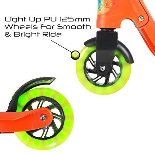 Flybar Aero 2-Wheel Kick Scooter For Kids With Grip Tape Deck, ABEC 5 Bearings, 125mm Light Up Wheels & Adjustable Handlebars - Holds Weights Up To 175 Lbs by Flybar (Image #4)