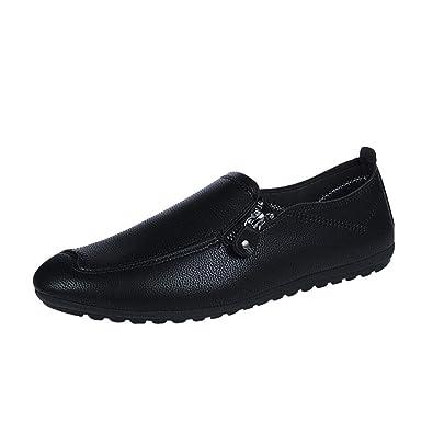 Ansenesna Herren Schuhe Leder Flach Elegant Freizeitschuhe Ohne Schnürung  Vintage Für Outdoor (39, Schwarz 2ba70f153c