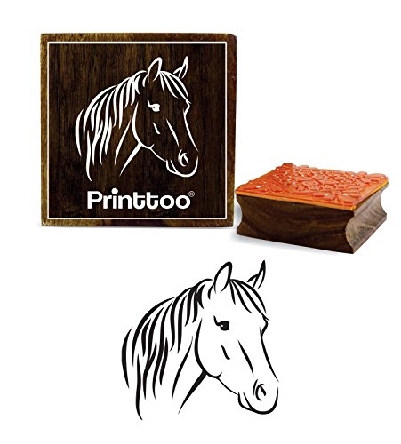 (Printtoo Horse Head Pattern Wooden Square Rubber Stamp Craft Textile DIY Stamps-3 x 3 inches)