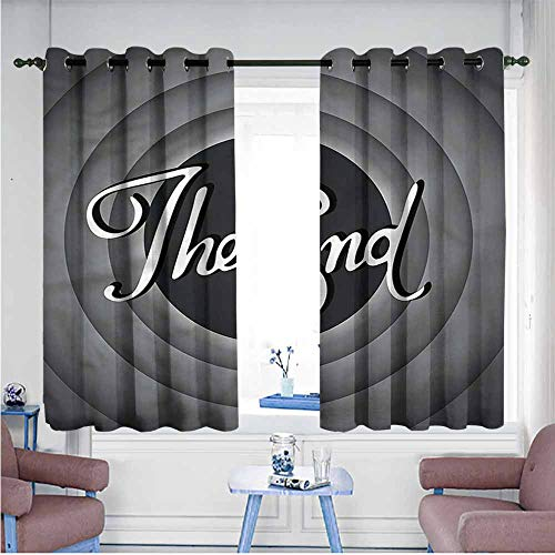 SAMEK Blackout Curtains Panels,1950s Vintage Cartoon Movie Ending,Great for Living Rooms & Bedrooms,W63x45L -