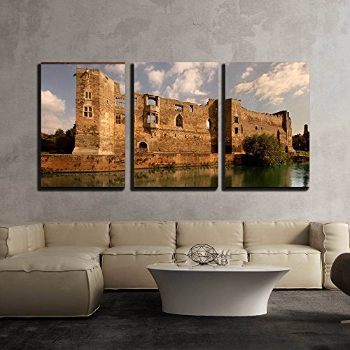 wall26 - 3 Piece Canvas Wall Art - Newark Castle on the Banks of the River Trent in Nottinghamshire, England - Modern Home Decor Stretched and Framed Ready to Hang (Castle Canvas Art)