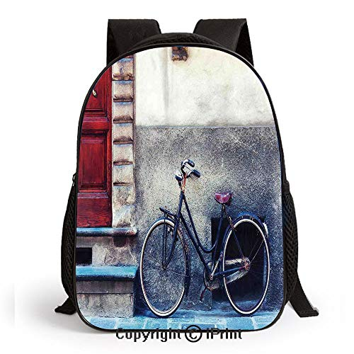 - School Backpack,Vintage Bicycle Leans on City Walls Modern Urban Regular Transportation Vehicle Image Bags Student Stylish Book Bag Daypack for Little Boys and Girls,Multi