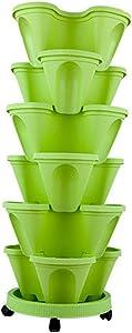 Aquarius CiCi 6 Tier Stacking Flower Pot Tower Stackable Vertical Plastic Garden Planter Vegetable Flower Strawberry Planter Pot Grow Fresh Herbs Indoor Outdoor(Green)