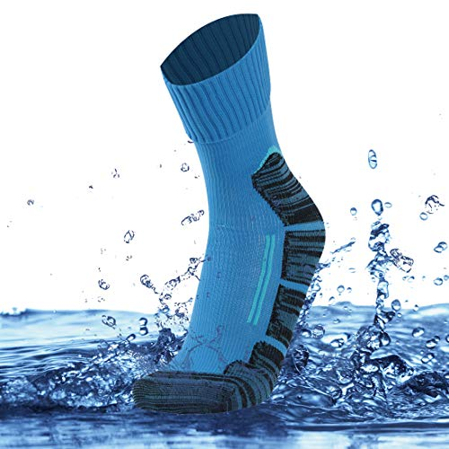 - SuMade Women's Men's 100% Waterproof Ski Socks, Unisex Breathable Cushioned Thermal Outdoor Crew Wader Socks for Hiking Cycling Running Fishing Backpacking 1 Pair (Blue, Small)