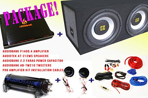 Watt Compact Mixer - COMPLETE PACKAGE! Audiobank P1400.2 2 Channels Amplifier + Audiotek AT-212WS Speakers + Audiobank AB-Tw210 Tweeters + Pro Installation Kit Cables + Audiobank 2.2 Farad Power Capacitor