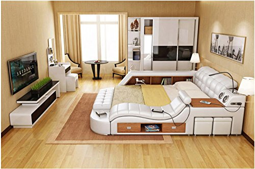 All in One Leather Double Bed Frame with Speakers Storage Safe Perfect Relaxation N