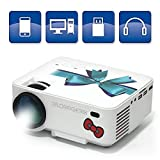 DR. ORのGETEK S55B Projector Support 1080P HDMI for PC Laptop Smartphone,Business Projector Home Theater Outdoor Movie Night Projectors 1500 Luminous Efficiency