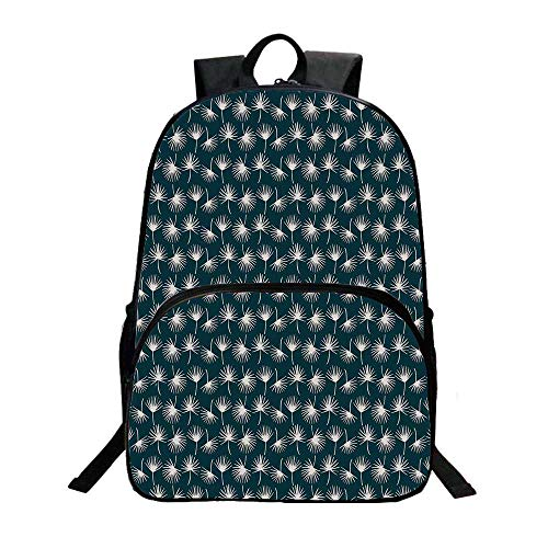Teal Fashionable Backpack,Abstract Natural Foliage Pattern in White Dandelion Silhouettes Spring Garden Meadow for Boys,11.8