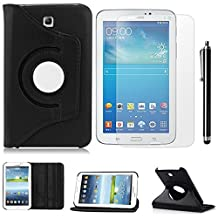 Samsung Galaxy Tab 3 7.0 SM-T217S 7-Inch Case,Samsung Tab3 P3200 Tablet Case,360 Rotating Leather Stand Case Cover for galaxy Tab 3 7.0 Back Case + Screen Protector + Stylus