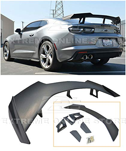 ZL1 1LE Style ABS Plastic Primer Black Rear Trunk Lid Wing Spoiler Replacement For 2016-Present Chevrolet Camaro ALL Models ()