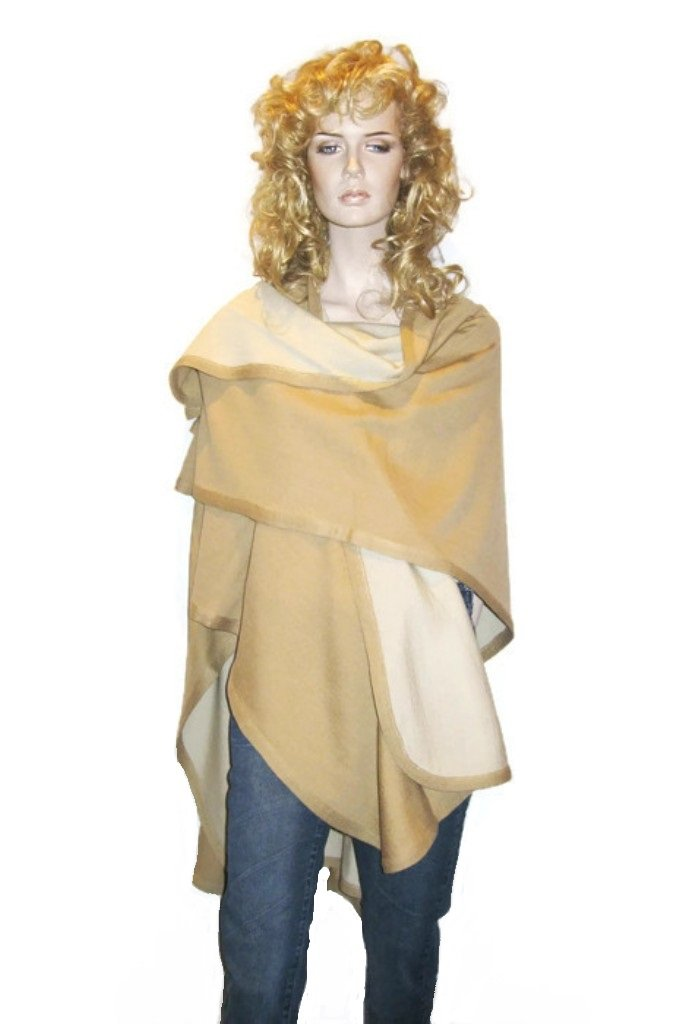Cashmere Pashmina Group- Cape Woolen Reversible Ruana Knitted Poncho Shawl Cardigans Sweater Coat (Camel/ Ivory)