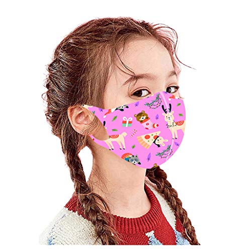 Gerichy 5PC Face_Masks for Kids, Cartoon Christmas Print Childrens Face Shield Reusable Washable Face Bandanas for Children Outdoor Back to School