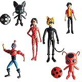 """6Pcs Miraculous Ladybug Action Figure Tikki Noir Cat Plagg Adrien Toy Set Gift, 3-8cm/1.2-3.2"""""""