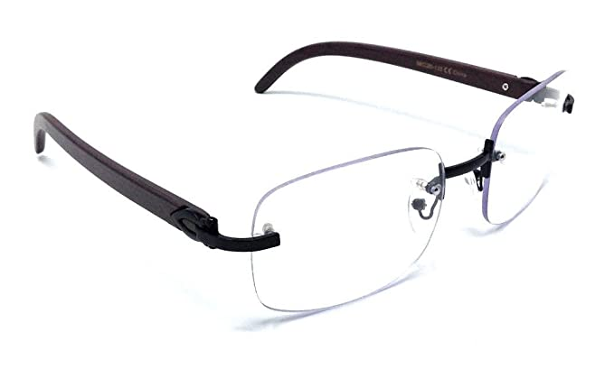 e6c17e1410 Dasher Rimless Square Metal   Wood Eyeglasses   Clear Lens Sunglasses  (Black   Dark Brown