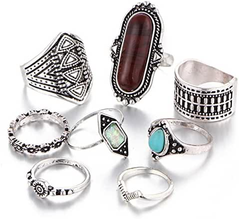 Gmai Bohemian Vintage Women Crystal Joint Knuckle Nail Ring Set of 8pcs Finger Rings Punk Ring Gift