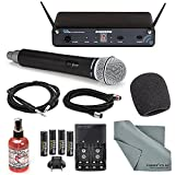 Samson Concert 88 Presentation 16-Channel Handheld Wireless Microphone (D Band) System Deluxe Bundle W/+ Microphone Muff, Cables, Microphone Sanitizer + FiberTique Cleaning Cloth