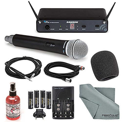 Samson Concert 88 Presentation 16-Channel Handheld Wireless Microphone (D Band) System Deluxe Bundle W/+ Microphone Muff, Cables, Microphone Sanitizer + FiberTique Cleaning Cloth by Photo Savings