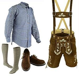 Bavarian Oktoberfest Trachten Lederhosen Above Knee Shorts Shirt Shoe and Socks