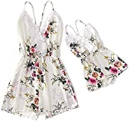 IFFEI Mommy and Me Matching Jumpsuit Outfits Chiffon Lace Floral Printed Spaghetti Strap V Neck Romper